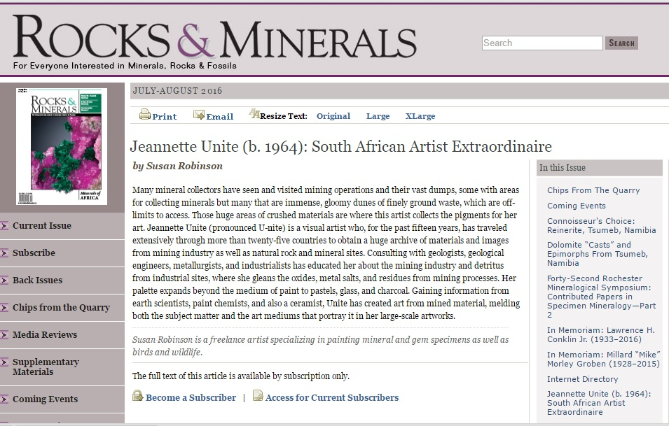 2016 Rocks and Minerals article by Susan Robinson